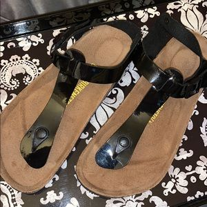 Birkenstocks black patent leather